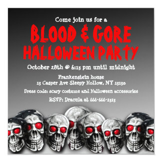 Skull Blood And Gore Halloween Party Invitation