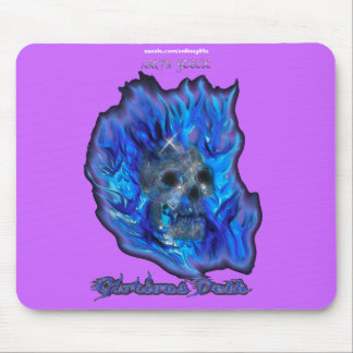 SKULL BLUE FLAMES Aaryn Steele Art Mousepad