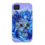 SKULL & BLUE FLAMES Fantasy Art iPhone 4 Case
