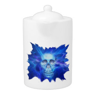 Skull blue flash Teapot  (2) sizes