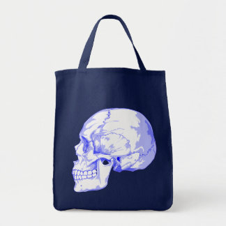 SKULL (BLUE) Grocery Tote Canvas Bags