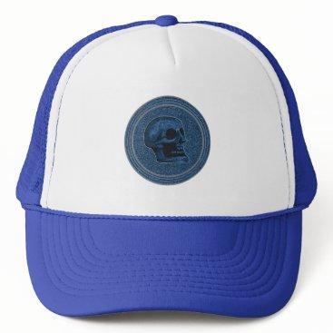 Halloween Themed SKULL Blue - Inside Stone Background Trucker Hat
