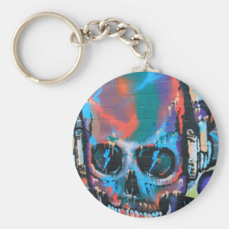 Skull, blue music Graffiti street art, urban goth Key Chain