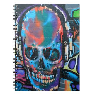 Skull, blue music Graffiti street art, urban goth Notebook