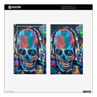 Skull, blue music Graffiti street art, urban goth Decal For Kindle Fire