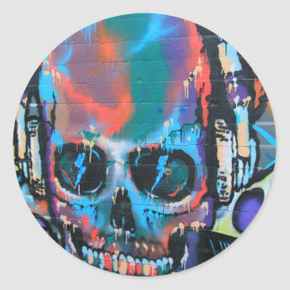 Skull, blue music Graffiti street art, urban goth Round Sticker