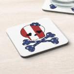 Skull & Bones American USA Flag Beverage Coaster