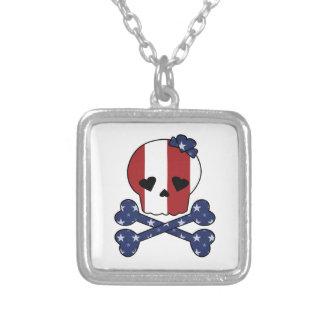 Skull & Bones American USA Flag Custom Jewelry