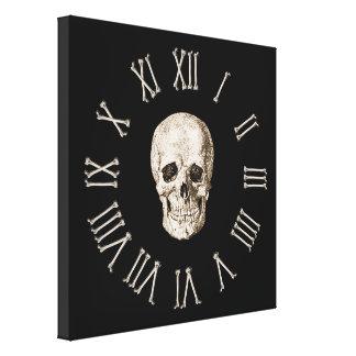 Skull & Bones Clock Face Stretched Canvas Prints