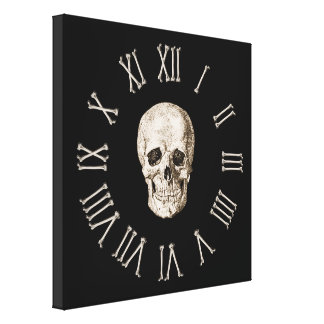 Skull & Bones Clock Face Canvas Print