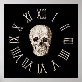 Skull & Bones Clock Face Poster