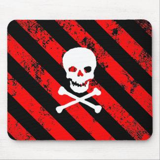 skull bones cracked Stripes Punk Anarchist Alfombrillas De Ratones