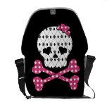 Skull & Bones Fleur-de-lis Pink Polka Dot Commuter Bags