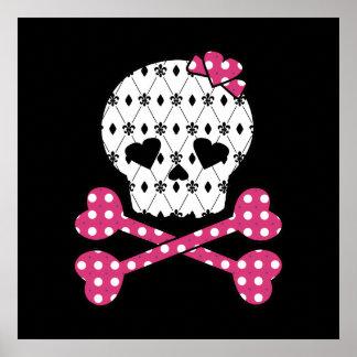Skull & Bones Fleur-de-lis Pink Polka Dot Posters