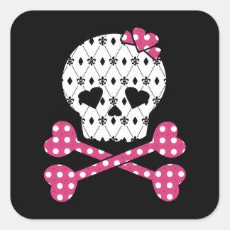 Skull & Bones Fleur-de-lis Pink Polka Dot Square Sticker