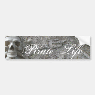 Skull &Bones Snake Pirate Life Text Bumper Sticker