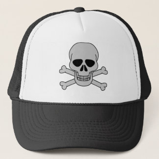 skull&bones-white trucker hat