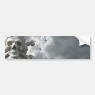 Skull & Bones with Cloudy Sky Car Bumper Sticker