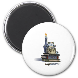 Skull Book and Candle 2 Inch Round Magnet