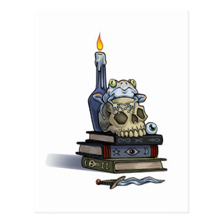 Skull Book and Candle Postcard