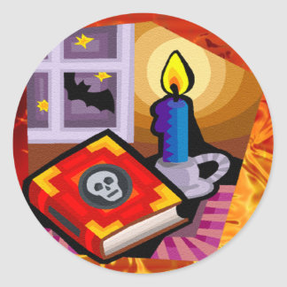 Skull Book, Candle Stick and Bat Outside Classic Round Sticker