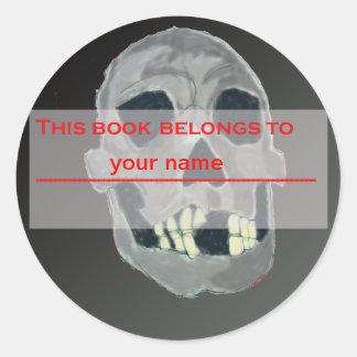 Skull Bookplate Classic Round Sticker