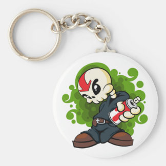 Skull Boy Basic Round Button Keychain