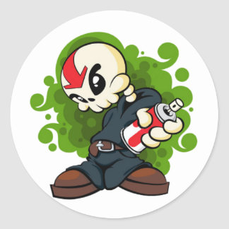 Skull Boy Classic Round Sticker
