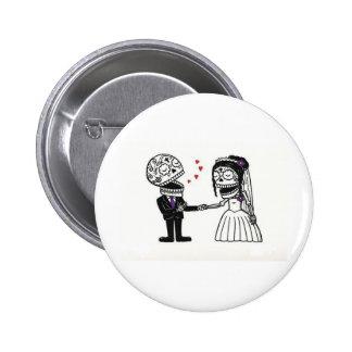 Skull Bridal Couple Pinback Button