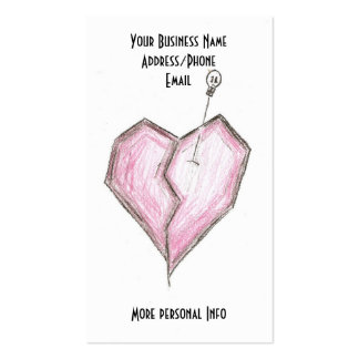 Skull & Broken Heart Business Cards, Tattoo Artist