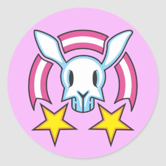 skull bunny round sticker