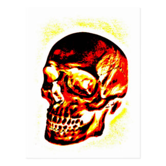 SKULL BURNING RED AND GOLD PRINT POSTCARD