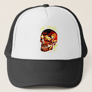 SKULL BURNING RED AND GOLD PRINT TRUCKER HAT