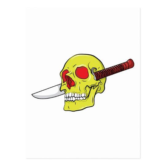 Skull ~ Butcher Knife Tattoo Skull Fantasy Art Postcard