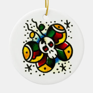 Skull Butterfly Watercolor Ceramic Ornament