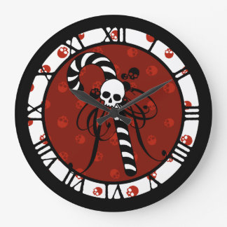 Skull Candy Cane Large Clock