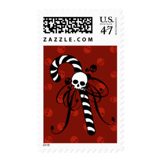 Skull Candy Cane Postage Stamp