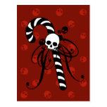 Skull Candy Cane Postcard