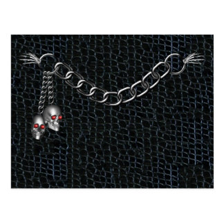 Skull Chain on faux Black crackled  leather Postca Postcard