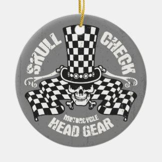 Skull Check Head Gear Ceramic Ornament