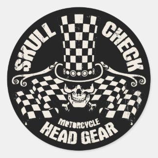 Skull Check Head Gear Classic Round Sticker