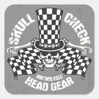 Skull Check Head Gear Square Sticker