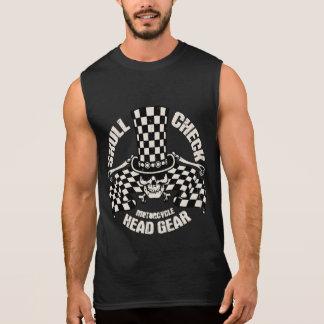 Skull Check Head Gear Sleeveless T-shirts