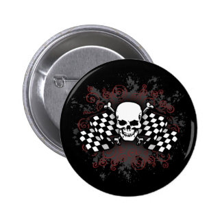 Skull-checkered flags-splat 2 inch round button