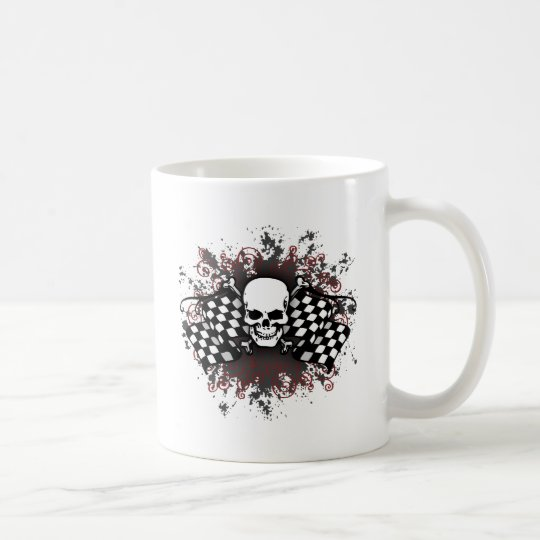 Skull-checkered flags-splat coffee mug