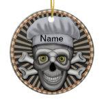 Skull Chef Ceramic Ornament