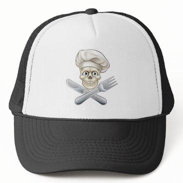 Halloween Themed Skull Chef Pirate Cartoon Trucker Hat