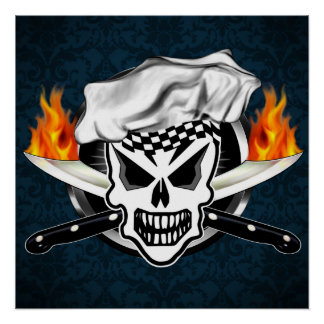 Skull Chef with Flaming Knives Poster