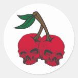 Skull Cherries Classic Round Sticker