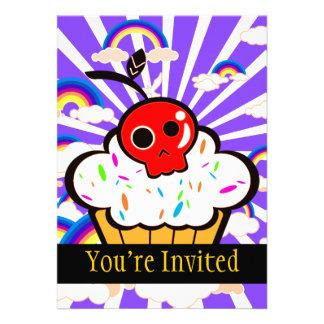 Skull Cherry Cupcake Rainbow Sky Invite